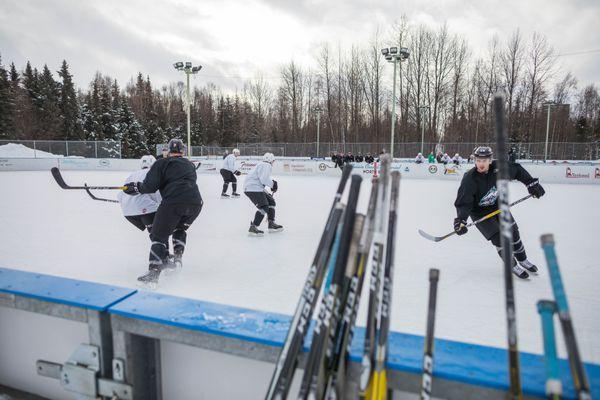 Alaska Aces hockey players practice at the Bonnie Cusack Outdoor Rink Center on Tuesday, Feb. 14, 2017. (Loren Holmes / Alaska Dispatch News)