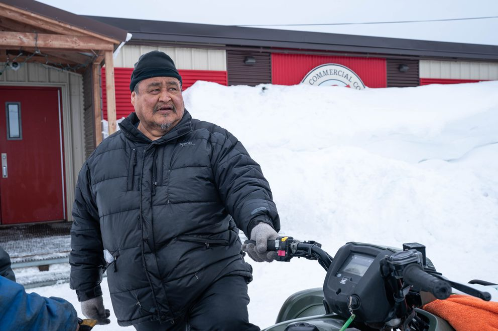 Ron Pitka stocks up at the Alaska Commercial store in Unalakleet before going fishing on Monday, March 16, 2020. (Loren Holmes / ADN)