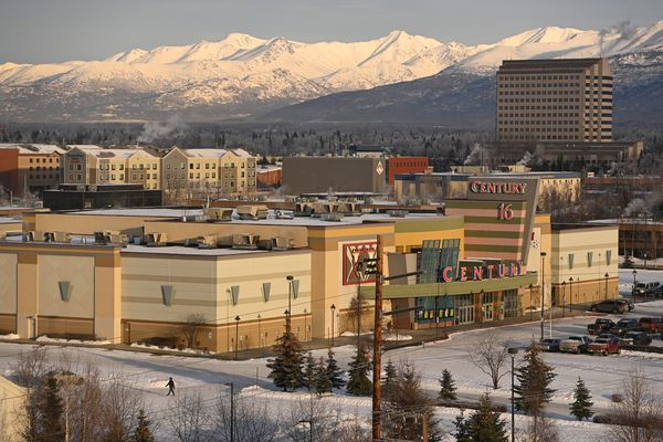 View of Century 16 movie theaters in Midtown Anchorage from the Frontier Building on Tuesday, Jan. 26, 2021. (Bill Roth / ADN)
