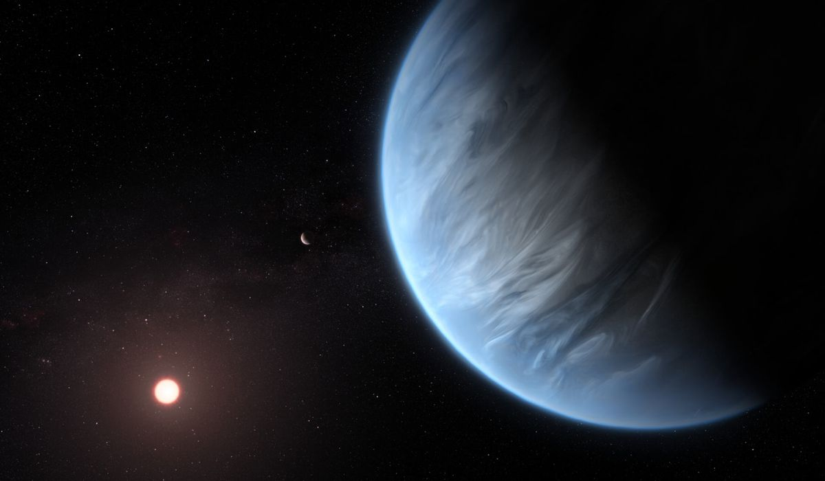 This artist's impression shows planets K2-18b and c and their host star. (NASA / ESA / Hubble / M. Kornmesser)