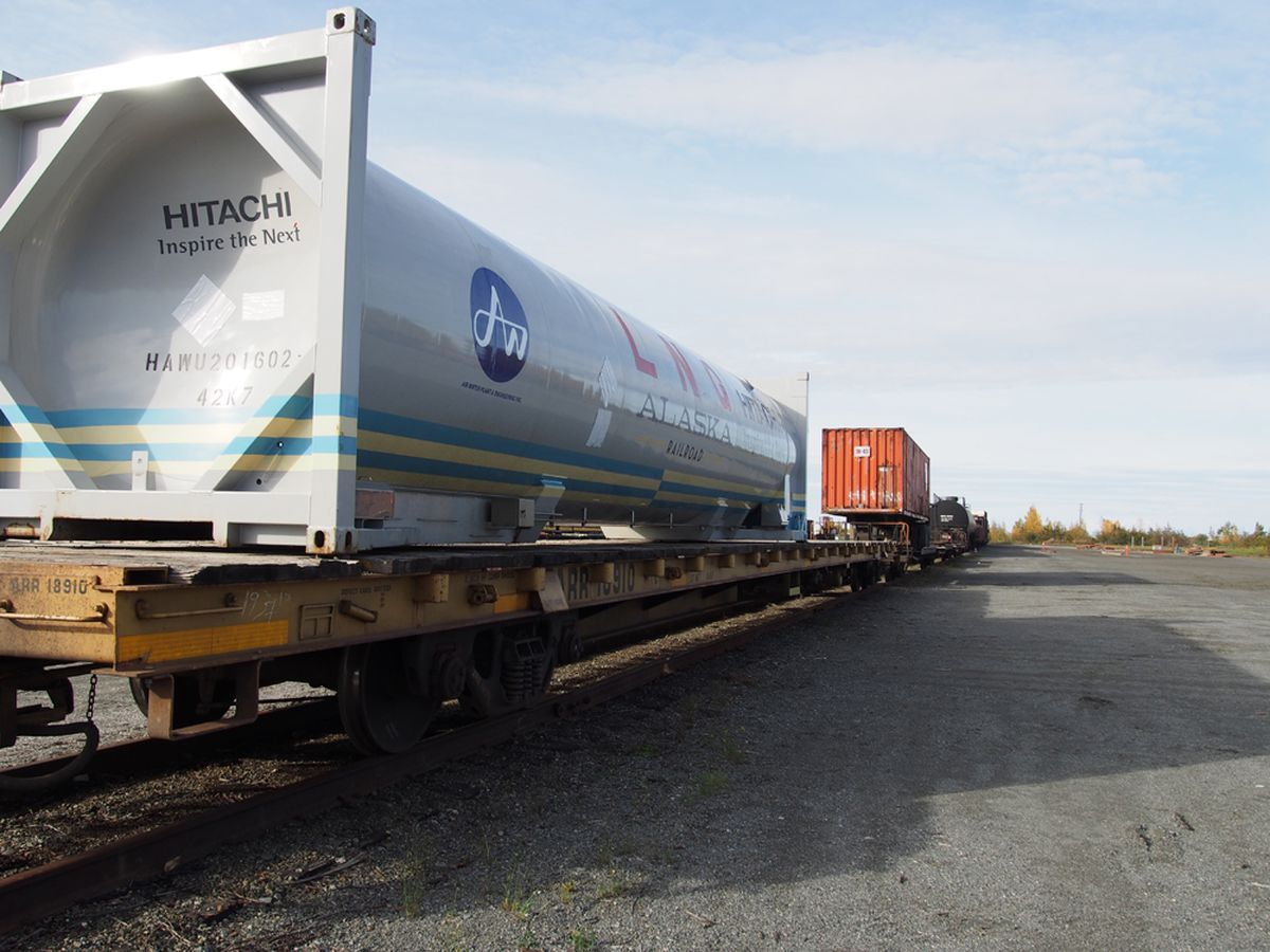 Moving LNG by rail from Houston to Fairbanks is part of a plan being pitched by Siemens to leaders of the Interior Gas Utility. (Photo courtesy Alaska Railroad)