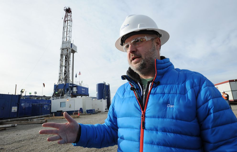 Dan Lee, Ahtna's oil and gas development manager on site at Tolsona No. 1, a wildcat well being drilled about 11.5 miles west of Glennallen on Oct. 10, 2016. (Bill Roth / Alaska Dispatch News)