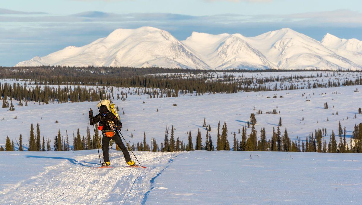 Bob Gillis skis the hills of Kobuk Valley National Park west of Ambler. (Seth Adams)