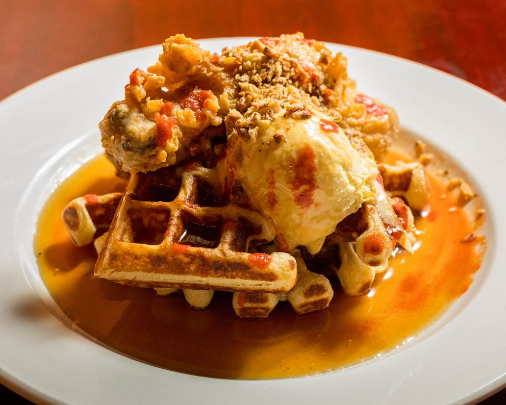 Chicken and waffles at Pangea restaurant, photographed Saturday, Dec. 24, 2016. (Loren Holmes / Alaska Dispatch News)