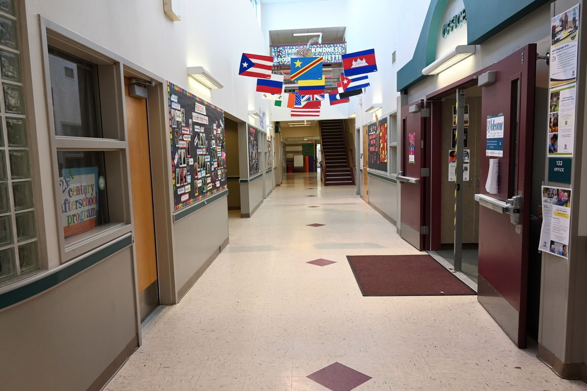 Empty school hall at Fairview Elementary School, Monday, March 16, 2020. (Anne Raup / ADN)