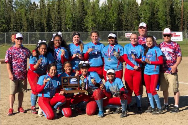 The East High softball team after winning the state championship with a 14-6 win over Dimond on Saturday, June 2, 2018. Photo from East High.