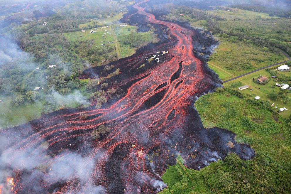 Lava flows from fissures near Pahoa, Hawaii, on May 19,2018. (U.S. Geological Survey via AP)