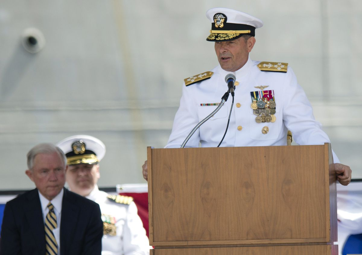 FILE- In this Sept. 10, 2016, file photo. Adm. William Moran speaks during the Commissioning of the USS Montgomery in Mobile, Ala. Moran, the Navy admiral set to become his service's top officer on Aug. 1, 2019, says he will instead retire. The extraordinary downfall of Moran was prompted by what Navy Secretary Richard Spencer on Sunday, July 7 called poor judgment. Spencer faulted Moran for having a professional relationship with a person who had been disciplined for what Spencer called