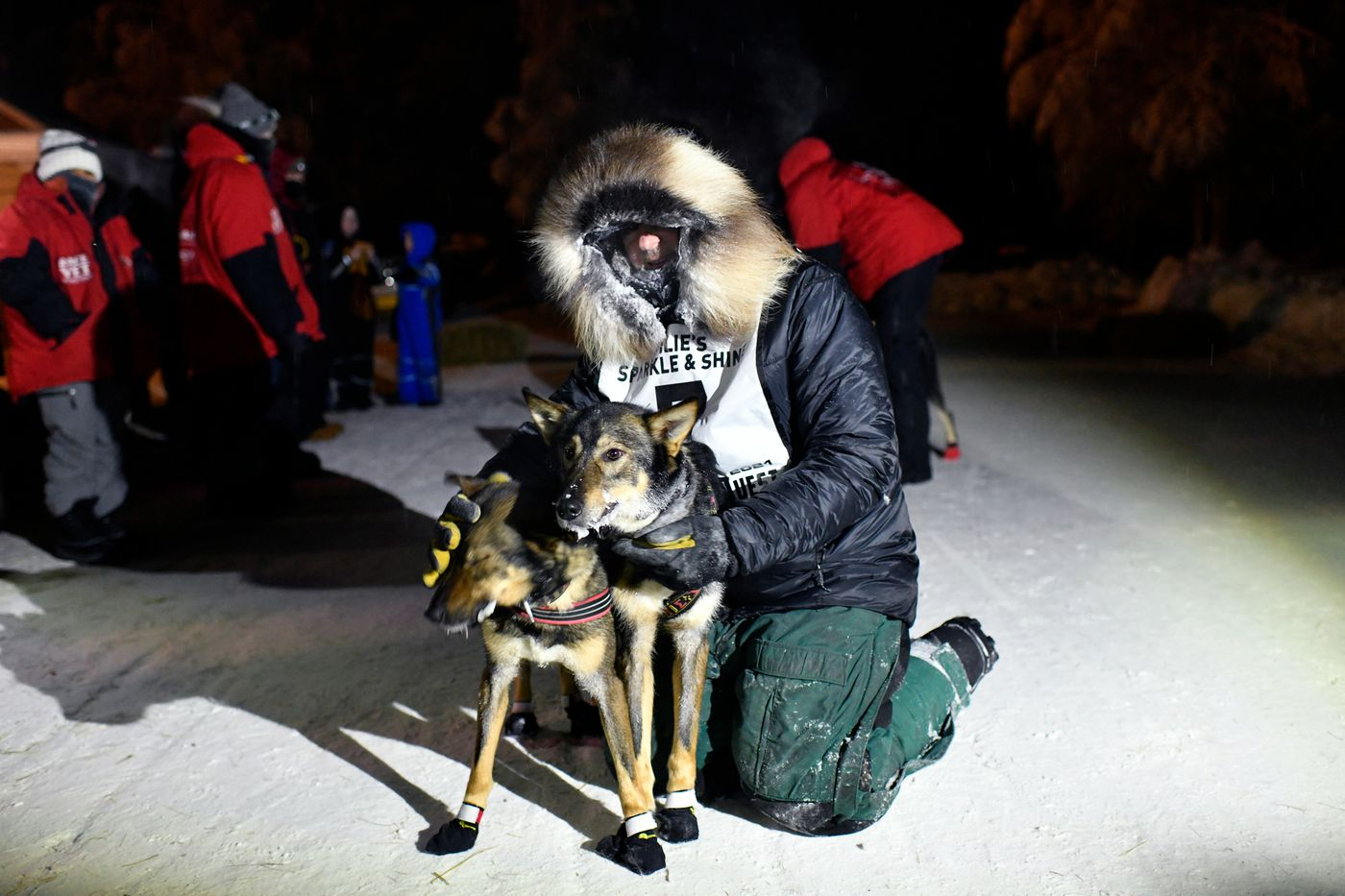 Summit Quest 300 winner Dan Kaduce poses with his lead dogs, Phoenix and Titan, in Central on February 15, 2021. (Marc Lester / ADN)