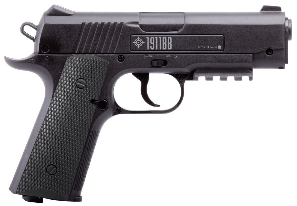 The suspect in the officer-involved shooting Aug. 5, 2019, is said to have pointed a Crossman replica 1911 BB gun, like the one pictured, at officers and residents. (Photo provided by APD)