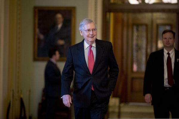 Senate Majority Leader Mitch McConnell of Ky. walks back to his office after speaking on the Senate floor on Capitol Hill in Washington, Thursday, Jan. 10, 2019. (AP Photo/Andrew Harnik)