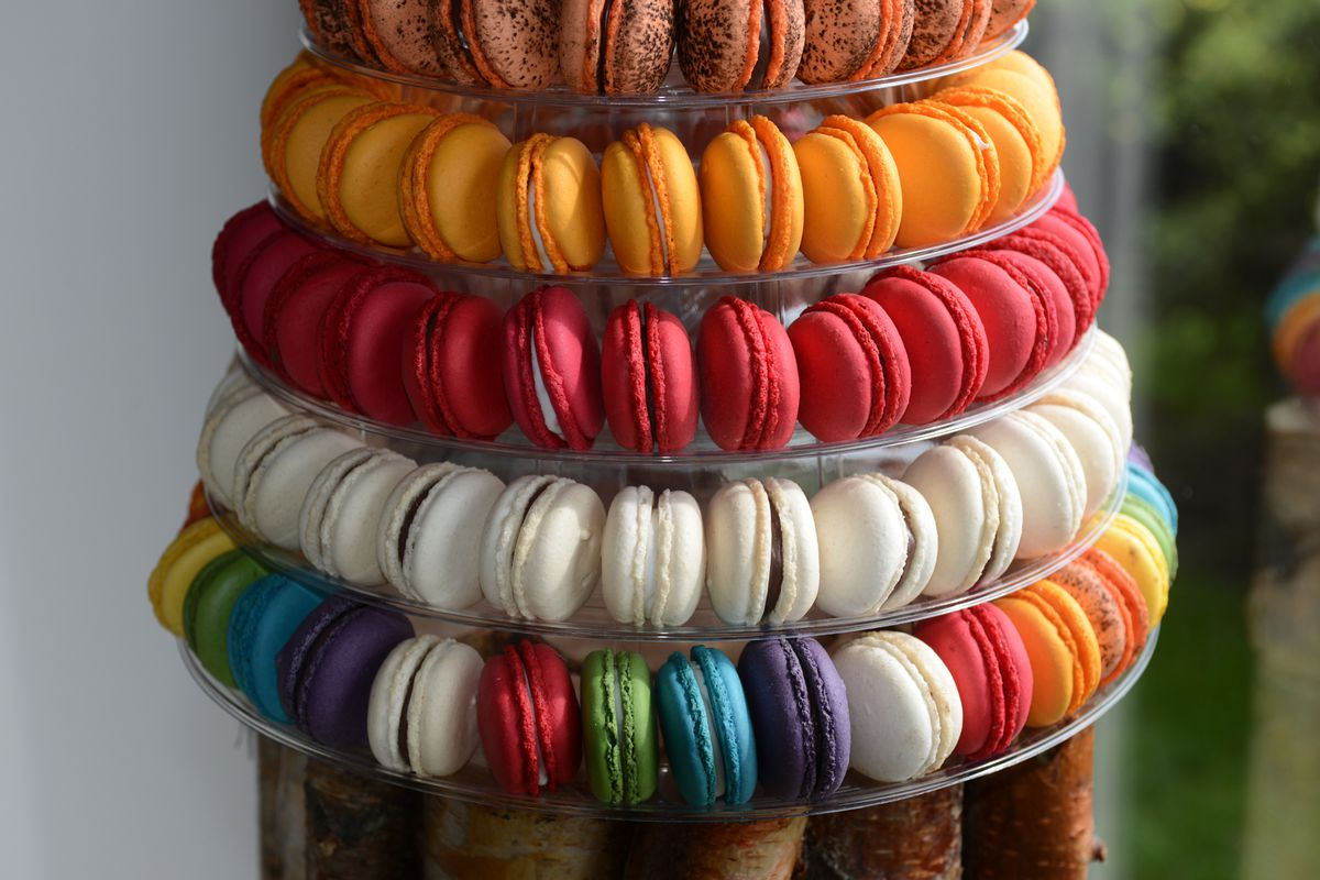 Macaron towers are displayed at Sweet Caribou on Wednesday, August 10, 2016 in Midtown. (Erik Hill / Alaska Dispatch News)