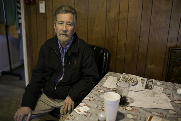 Leslie McCrae Dowless in his kitchen in Bladenboro, North Carolina, on Dec. 5, 2018. (Photo for The Washington Post by Justin Kase Conder)