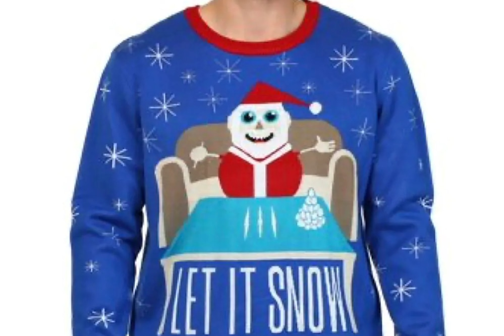 Walmart Canada apologized and removed several holiday sweaters sold by a third-party vendor, including one featuring an image of Santa Claus seated at a table with three white lines that appeared to be cocaine. (Walmart.ca.)