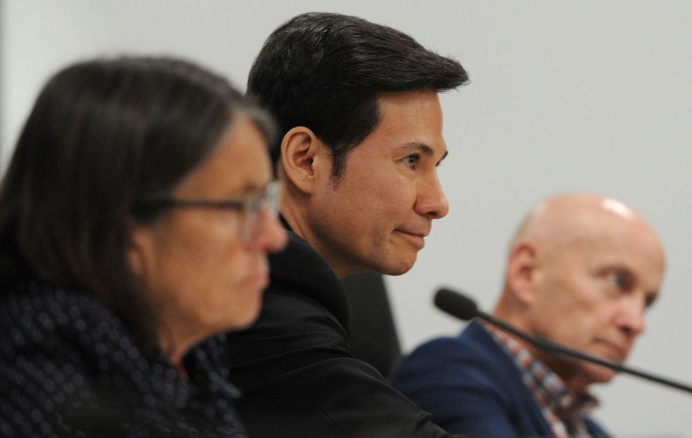 Representatives Jennifer Johnston, R-Anchorage, left, Neal Foster, D-Nome, and Rep. Dan Ortiz, I-Ketchikan, listen to public testimony during the Alaska House Finance Committee meeting in Anchorage on Monday, July 15, 2019. (Bill Roth / ADN)