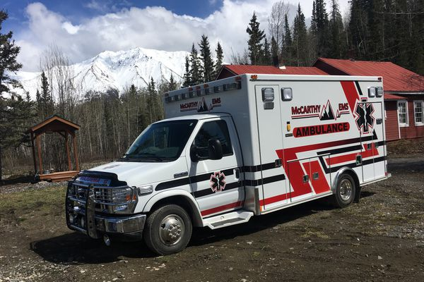 McCarthy has a new ambulance, May 24, 2018, courtesy of Jonathan Dobbs, a Wisconsin resident who was in McCarthy last year when the old ambulance was vandalized. (Photo by Jacob Shultz)