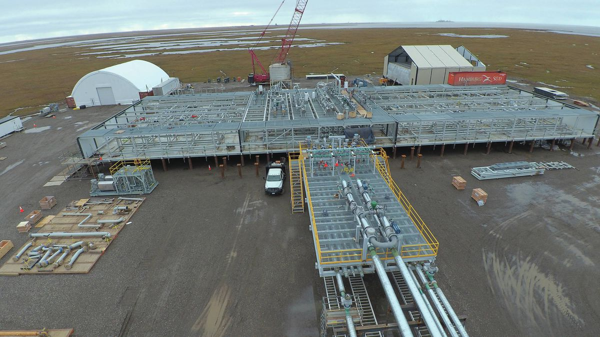 The Moose Pad project at Hilcorp's Milne Point Unit was expected to start in the first quarter of 2019 and peak at 16,000 to 18,000 barrels per day, but came online much later and contributed to a miss on this year's state production forecast. (Photo courtesy Hilcorp)