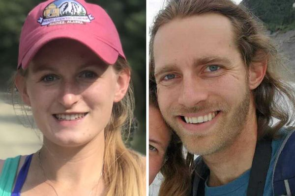 Kindergarten teacher Jenae Larson, 23, left, and Haines Economic Development Corp. director David Simmons, 30, right, remain missing after a landslide in Haines on Wednesday, Dec. 2, 2020. (Photos courtesy Claire Jensen and Libby Jacobson)