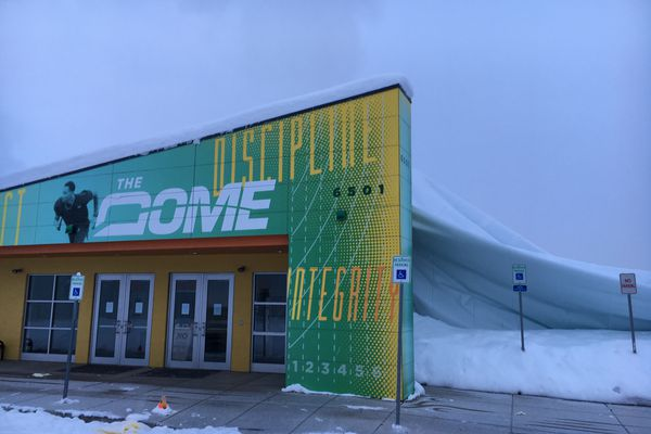 The front entrance of Anchorage indoor track and field venue The Dome, after it collapsed under heavy snowfall Saturday night.
