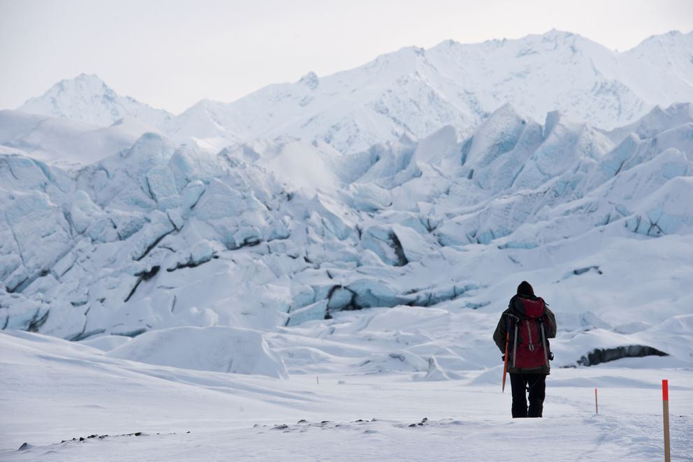Matanuska Glacier Park guide and caretaker Bill Stevenson guides a tour of the toe of Matanuska Glacier on February 23, 2017. (Marc Lester / Alaska Dispatch News)