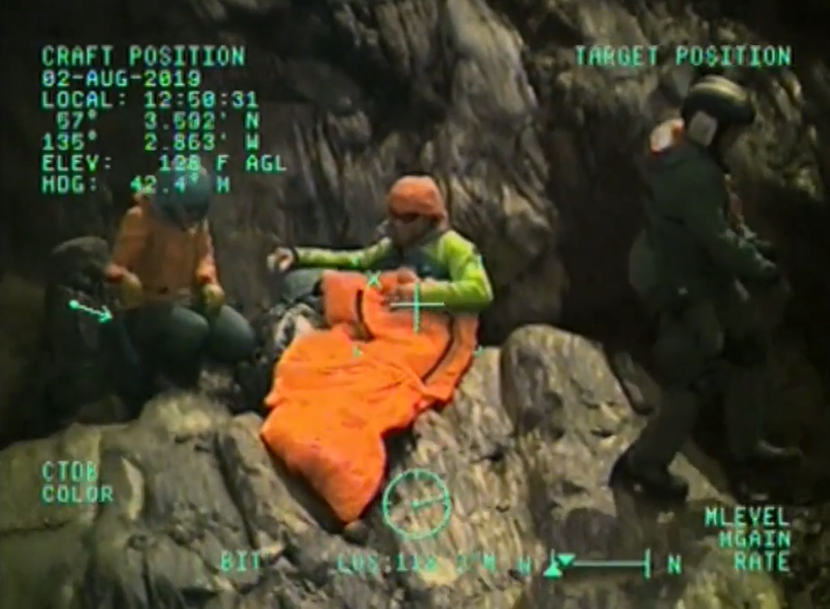 Benjamin Clark, 35, was rescued on Friday, August 2, 2019 after he survived a 150-foot fall off a cliff near Sitka. (Screengrab U.S. Coast Guard)