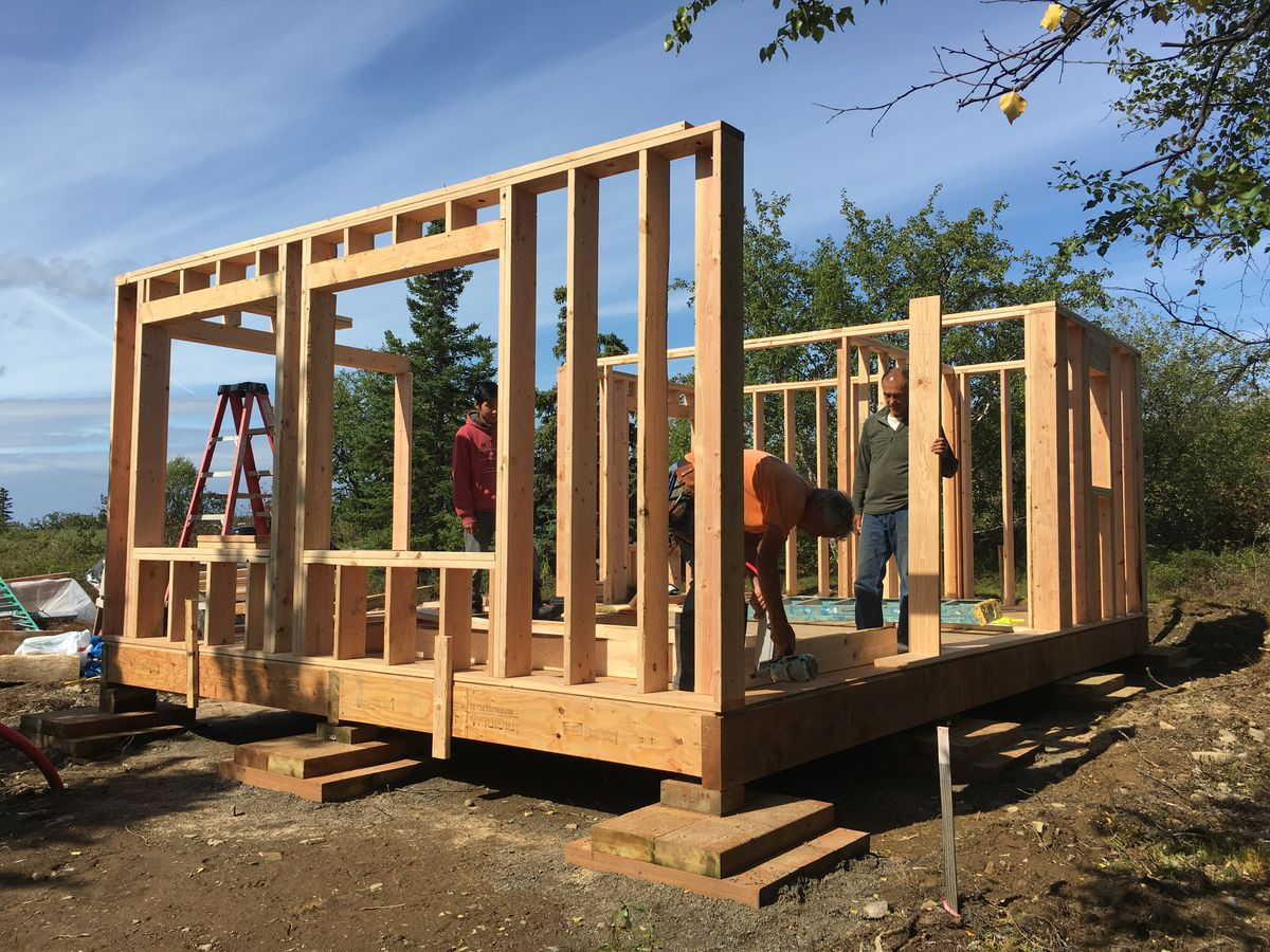 Al Imrie and the crew build a wall on Ivanoff's new home last summer. (Laureli Ivanoff)