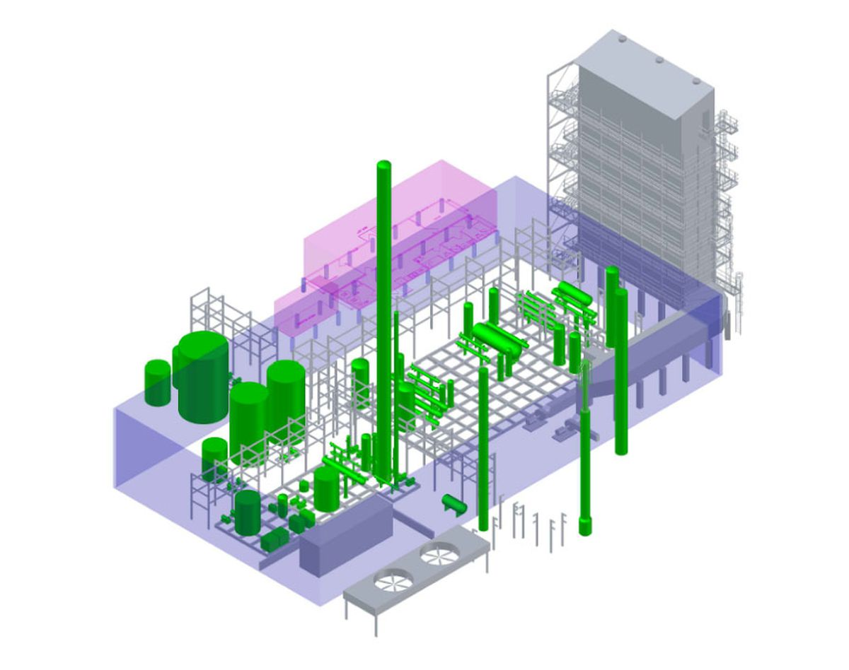 A 3D rendering of the PBC methanol plant. (Provided by Prudhoe Bay Chemical)