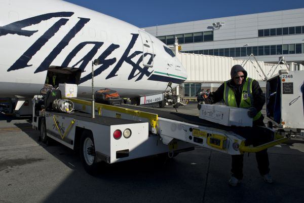 Baggage is unloaded from an Alaska Airlines 737-400 Combi aircraft. The final flight of an Alaska Airlines Boeing 737-400 Combi aircraft departed Anchorage on Oct. 18, 2017. Alaska Airlines operated five of the jets, which were configured to carry freight in the front and passengers in the rear. The company is transitioning to dedicated cargo aircraft in Alaska. (Marc Lester / Alaska Dispatch News)