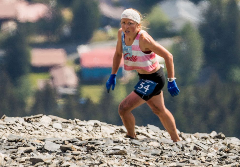 Holly Brooks, shown here nearing the top of Mount Marthon in 2016, urges runners to be cautious about their race plans.(LOREN HOLMES / ADN archives)