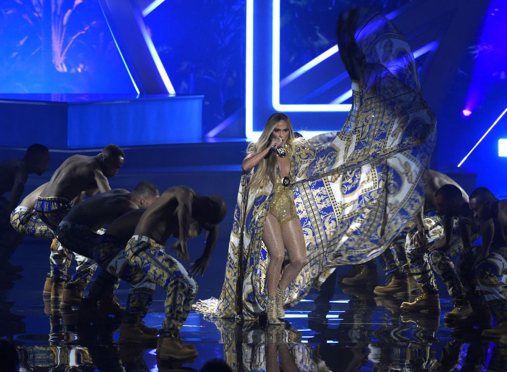 Jennifer Lopez performs at the MTV Video Music Awards at Radio City Music Hall on Monday, Aug. 20, 2018, in New York. (Photo by Chris Pizzello/Invision/AP)