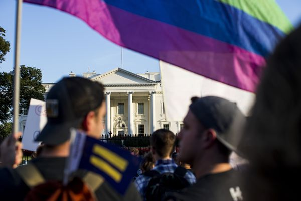 FILE — Protesters outside the White House in Washington after President Donald Trump announced that he planned to ban transgender individuals from the military, July 26, 2017. A week after Trump's Twitter statements, military policy experts say that years of study have not produced much evidence to support Trump's claims. (Justin Gilliland/The New York Times)