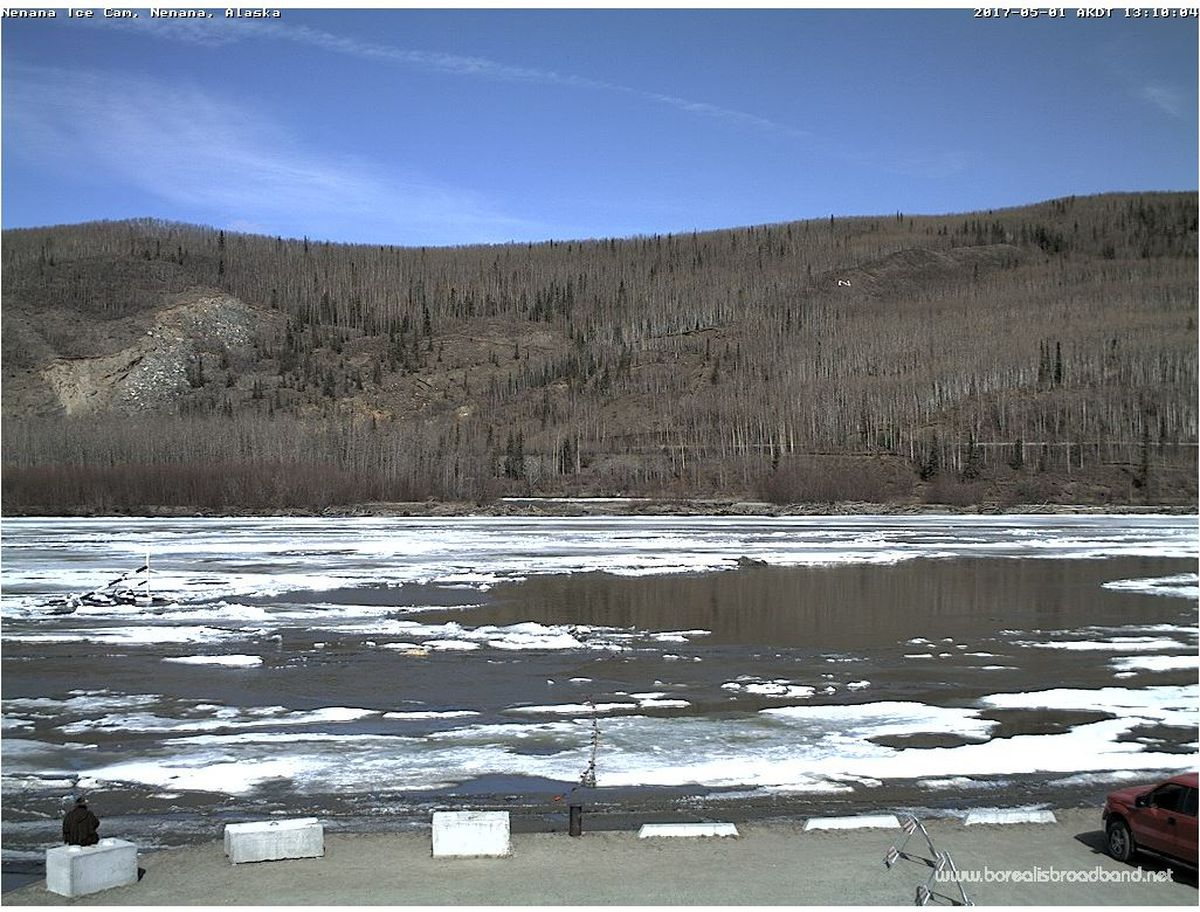 The Nenana Ice Classic tripod stopped the clock Monday, ending the annual spring guessing game. (Nenana Ice Classic/Borealis Broadband)