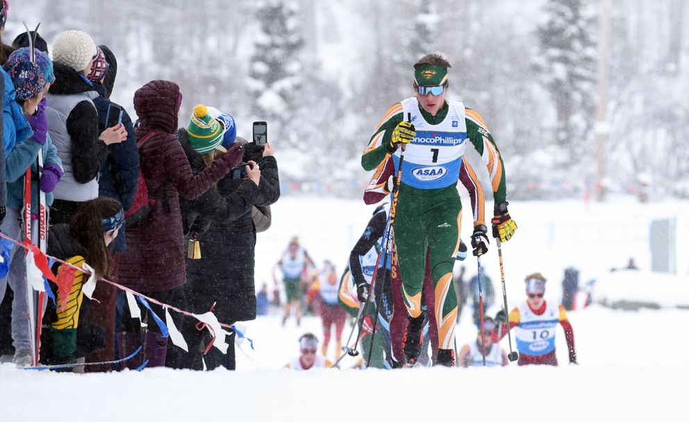 Service's Alexander Maurer leads a group of skiers up a Kincaid Park hill during February's state championships. (Matt Tunseth / ADN archives)