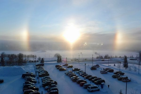 Sundogs seen from the University of Alaska Fairbanks campus on January 23, 2020. (Photo by Ned Rozell.)