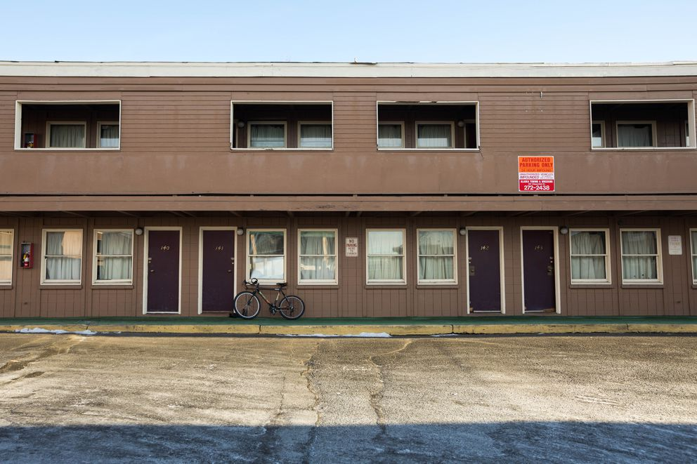 The Mush Inn Motel, photographed on Wednesday, Nov. 14, 2018. Tenants at the motel are suing the motel's owners, claiming that they have known about unlivable conditions including an infestation of bedbugs, cockroaches and rodents for years but did nothing. (Loren Holmes / ADN)