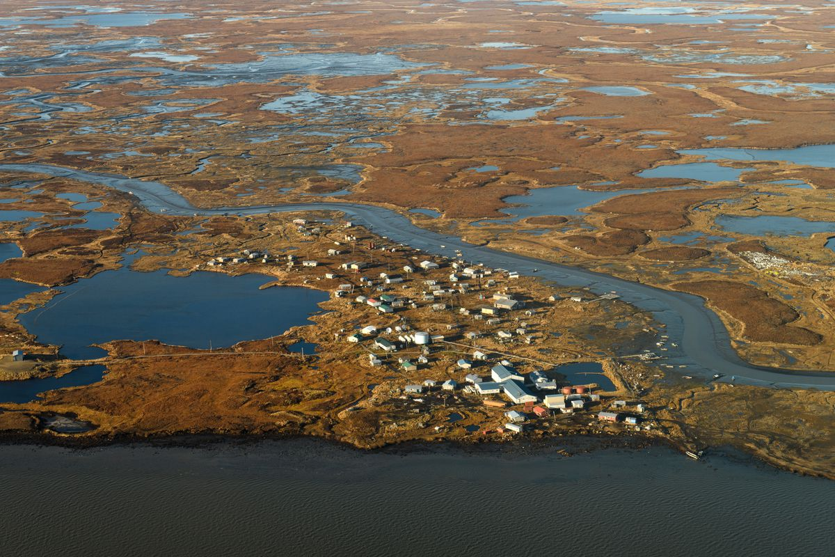 Newtok, located on the Ninglick River near the Bering Sea coast is relocating due to erosion, melting permafrost and flooding. Photographed on October 13, 2019. (Marc Lester / ADN)