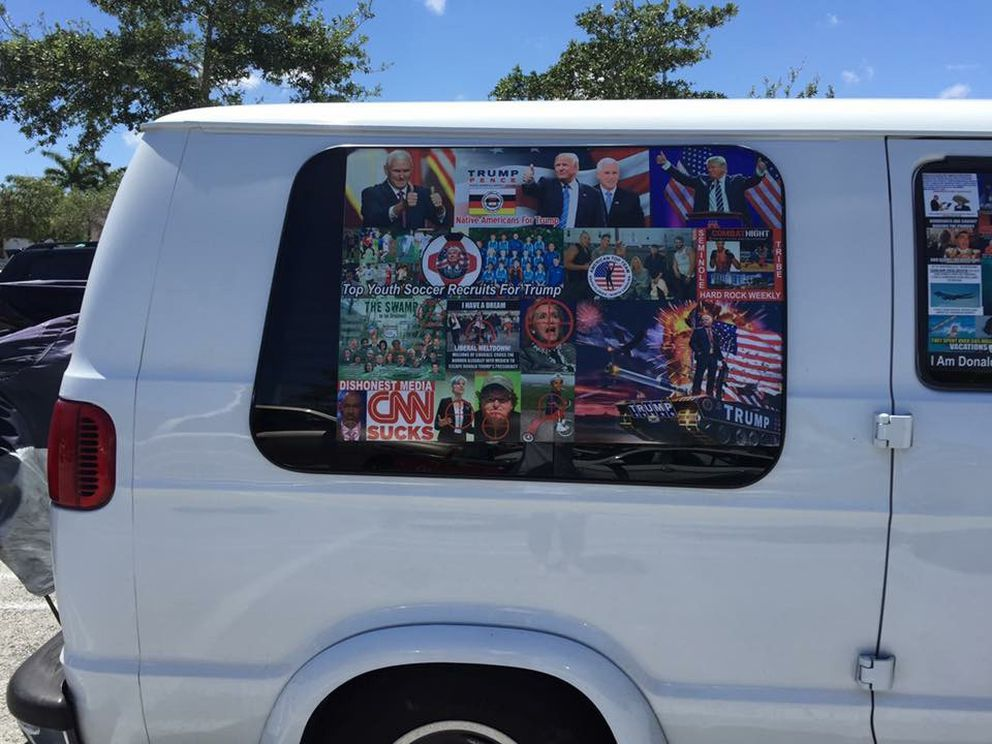 This May 2017 photo provided by Natalie B. Kline and obtained by The Washington Post shows a van parked near a shopping mall in Aventura, Florida. On Friday Oct. 26, 2018, Federal agents and police officers examined this van in Plantation, Fla., in connection with package bombs that were sent to high-profile individuals who have been critical of President Donald Trump. (Photo by Natalie B. Kline)