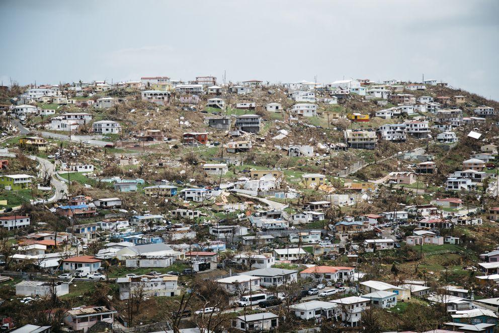 Damaged buildings in Old Tutu following Hurricane Irma in St. Thomas, U.S. Virgin Islands. (Erika P. Rodriguez/The New York Times)