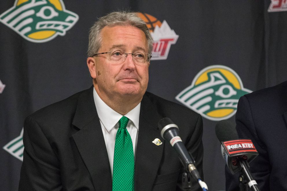 Tim McDiffett speaks to reporters in 2017 after announcing the demise of the Great Alaska Shootout. (Loren Holmes / ADN archive)