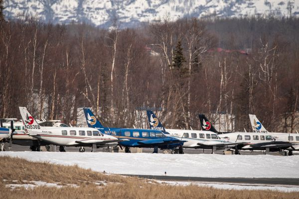 Ravn airplanes are parked at the Palmer airport on Wednesday, April 8, 2020. RavnAir Group announced Sunday that the company would stop all operations and file for bankruptcy. (Loren Holmes / ADN)