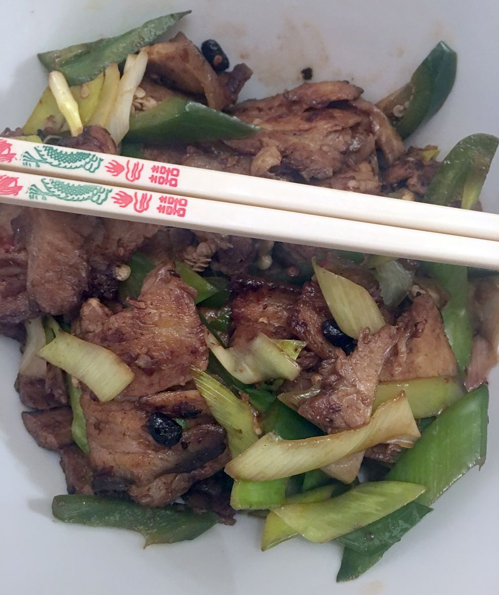 Double-cooked pork at Jimmy's Asian Restaurant. (Photo by Mara Severin)