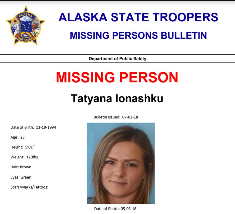 Tatyana Ionashku was reported missing July 1, 2018. (Alaska State Troopers)