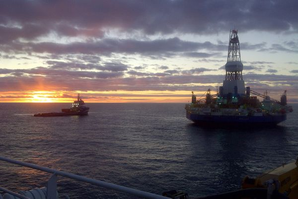 The Kulluk conical drilling unit works in the Beaufort Sea at a Shell Alaska prospect in 2012 offshore from the North Slope. (Courtesy Shell Alaska)