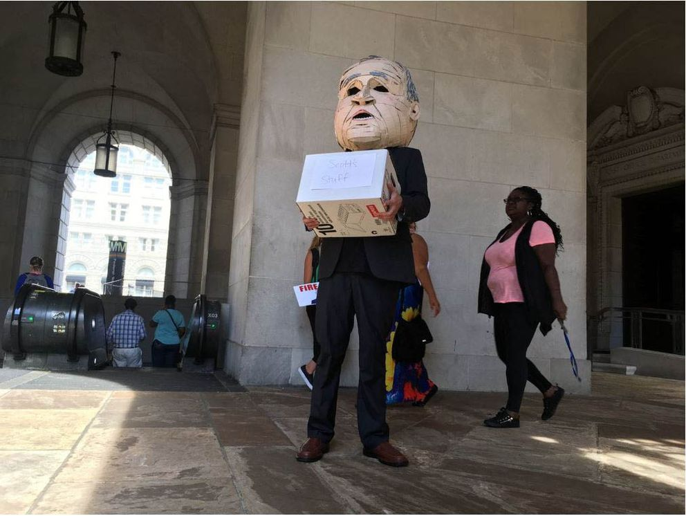 The scene outside the EPA building on Thursday afternoon after Scott Pruitt's resignation was announced. (Washington Post photo by Dan Zak)