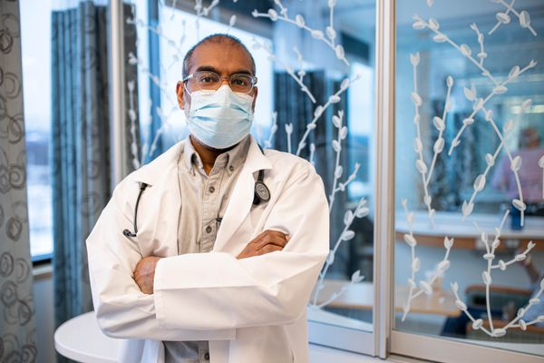 Dr. Anusiyanthan Mariampillai, an oncologist at the Alaska Native Medical Center, photographed in an infusion center on the ANMC campus Thursday, Jan. 21, 2021. (Loren Holmes / ADN)