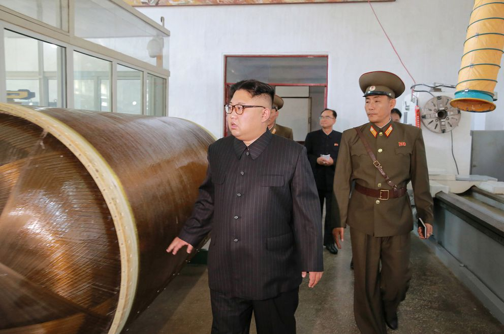 North Korean leader Kim Jong-Un looks on during a visit to the Chemical Material Institute of the Academy of Defense Science in this undated photo released by North Korea's Korean Central News Agency in Pyongyang on August 23, 2017. KCNA/via REUTERS