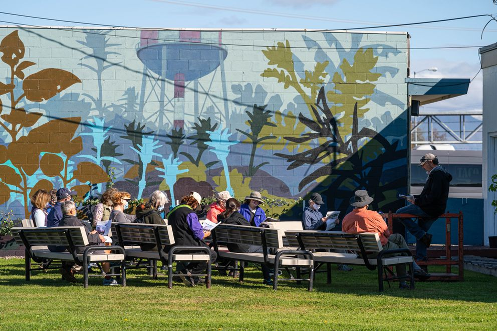 Steve Gerlek leads a Government Hill neighborhood tour for members of Olé!, a continuing education group affiliated with the University of Alaska Anchorage, on Wednesday, Sept. 9, 2020 at the Government Hill Commons. (Loren Holmes / ADN)