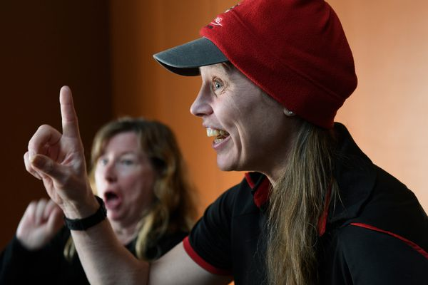 Iditarod musher Aliy Zirkle laughs with fans at a musher meet-and-greet event at the Dena'ina Convention Center on February 28, 2019. (Marc Lester / ADN)
