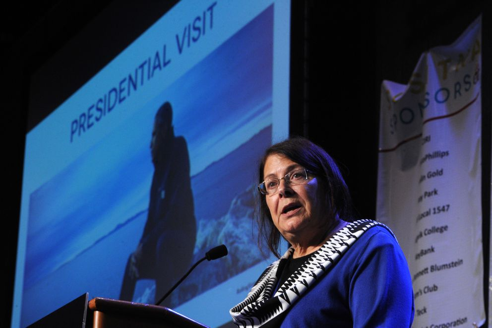 AFN president Julie Kitka talks about the presidential visit during the opening day of the The Alaska Federation of Natives Convention on Thursday, Oct. 15, 2015, at the Dena'ina Center in Anchorage.