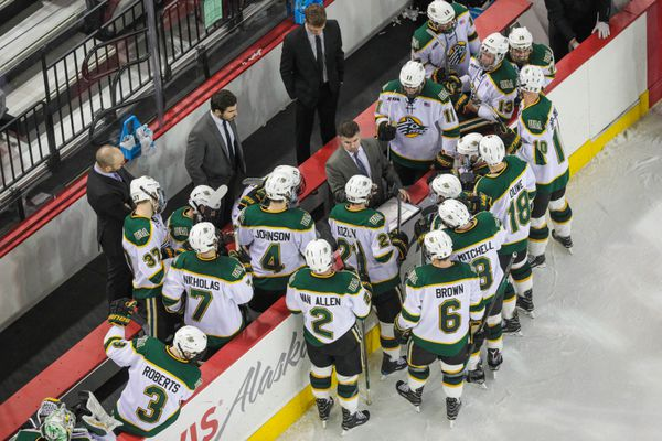 UAA head coach Matt Thomas gives his team some guidance during the third period of a game against Bemidji Saturday, Dec. 31, 2016 at the Sullivan Arena in Anchorage. Bemidji won 1-0. (Loren Holmes / Alaska Dispatch News)